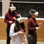 Students experiencing the virtual reality